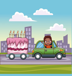 boy driving car with cake in carriage vector image