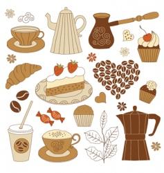 coffee and dessert set vector image