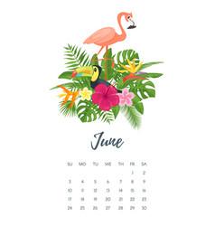june 2018 year calendar page vector image