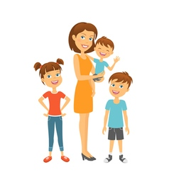 Mother with kids Happy family Mother and children vector image vector image