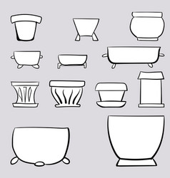 pots for houseplants hand-drawn vector image