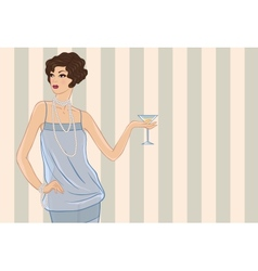 Retro party girl for your design vector image vector image