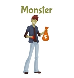Young man dressed in green monster costume for vector image vector image