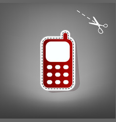 cell phone sign red icon with for vector image vector image