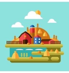 Flat Design of Farm Landscape vector image