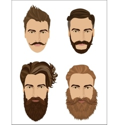 Man hair and beards styles Hipster fashion high vector image