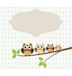 owl family card vector image