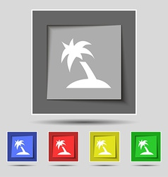 Palm tree travel trip icon sign on the original vector