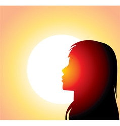 Sillouette of woman in front of sun vector image vector image