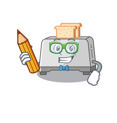 A smart student bread toaster character holding vector