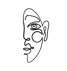 abstract female portrait continuous line vector image