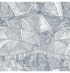 Abstract seamless patterns with hand-drawn doodle vector image