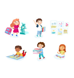 back to school set children with studying vector image