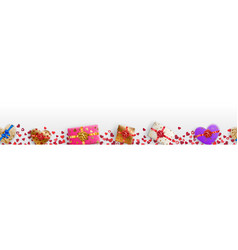 Banner with hearts and gift boxes vector