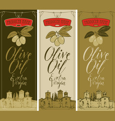 banners for olive oil with countryside landscape vector image vector image
