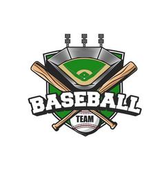 baseball sport team icon ball bats and stadium vector image