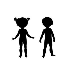 black silhouettes cute kids vector image