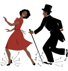 Black tap dance performers vector