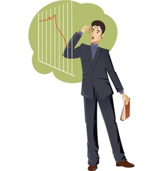 Businessman is shocked about the graph vector