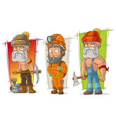 Cartoon digger and lumberjack character set vector