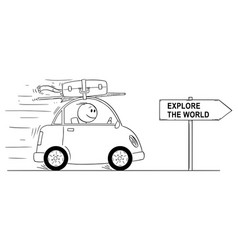Cartoon of smiling man going in small car vector