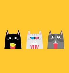 Cat set popcorn soda french fries cinema theater vector