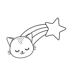 cat with shooting star black and white vector image