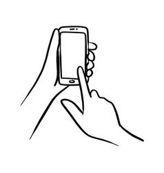 close-up hand using smartphone vector image