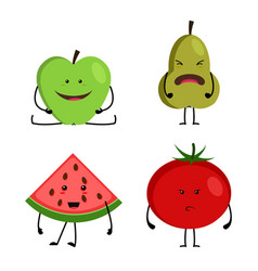 Collection of cartoon fruit and vegetables vector