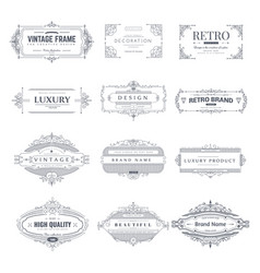 collection of vintage patterns and frames vector image