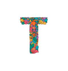 Colorful ornamental alphabet letter t font vector