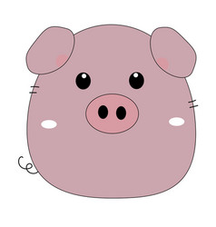 Cute funny pig isolated on white background flat vector