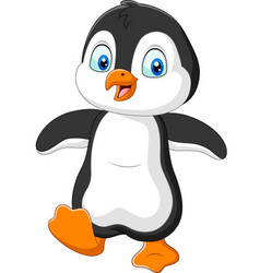 cute penguin cartoon on white background vector image