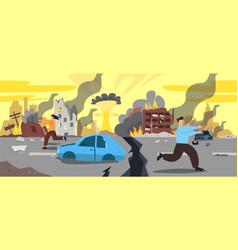 Doomsday city apocalyptic ruins cartoon vector