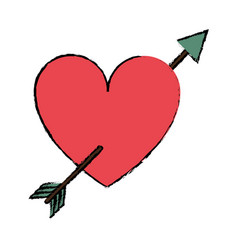 drawing red heart with arrow love valentine vector image