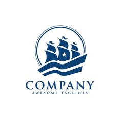 elegant sailing boat logo vector image