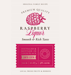 Family recipe raspberry liquor acohol label vector