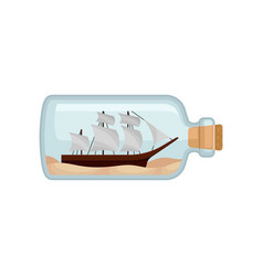 Flat icon of glass bottle with sand and vector