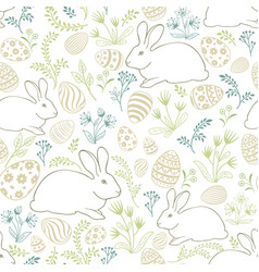 Floral holiday pattern easter bunny eggs seamless vector
