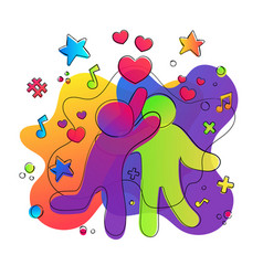 friend love concept colorful happy friend hug vector image