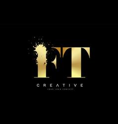 Ft f t letter logo with gold melted metal splash vector