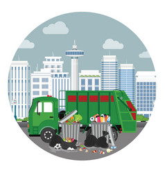 garbage truck and plastics garbage can full of vector image