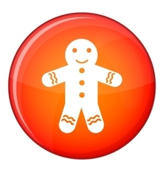 Gingerbread man icon flat style vector