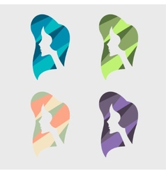 Girl segmented colored silhouette vector image