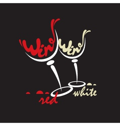 glasses with red and white wine vector image vector image