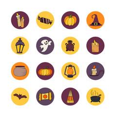 Goast pumpkin hat icons set of hallowen vector