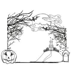 Halloween doodle frame vector