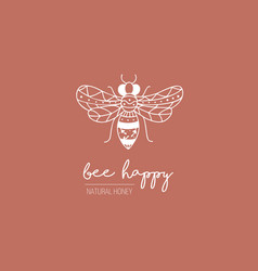 hand drawn bee logo in doodle style vector image