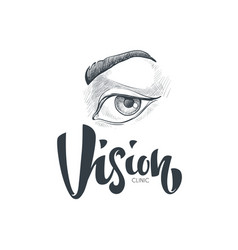 Hand drawn vision and eyes logo symbols and vector
