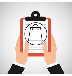 Hand holding shop online bag gift vector